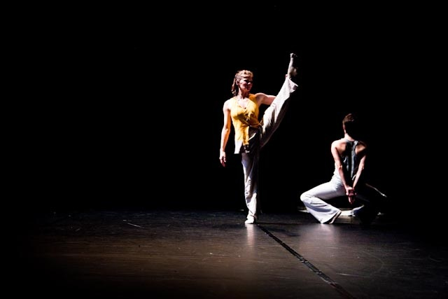 """Kate Holden and Kate Franklin in """"Fictions: Chroma Key"""" by Marc Boivin. Photo by Kristy Kennedy"""