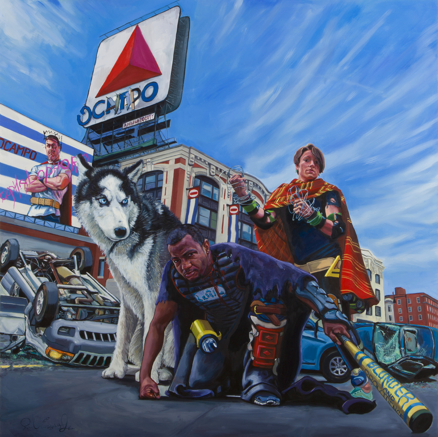 "The Surviving Members of the Sullivan Seven, 36""x 36"" oil on panel, 2014"