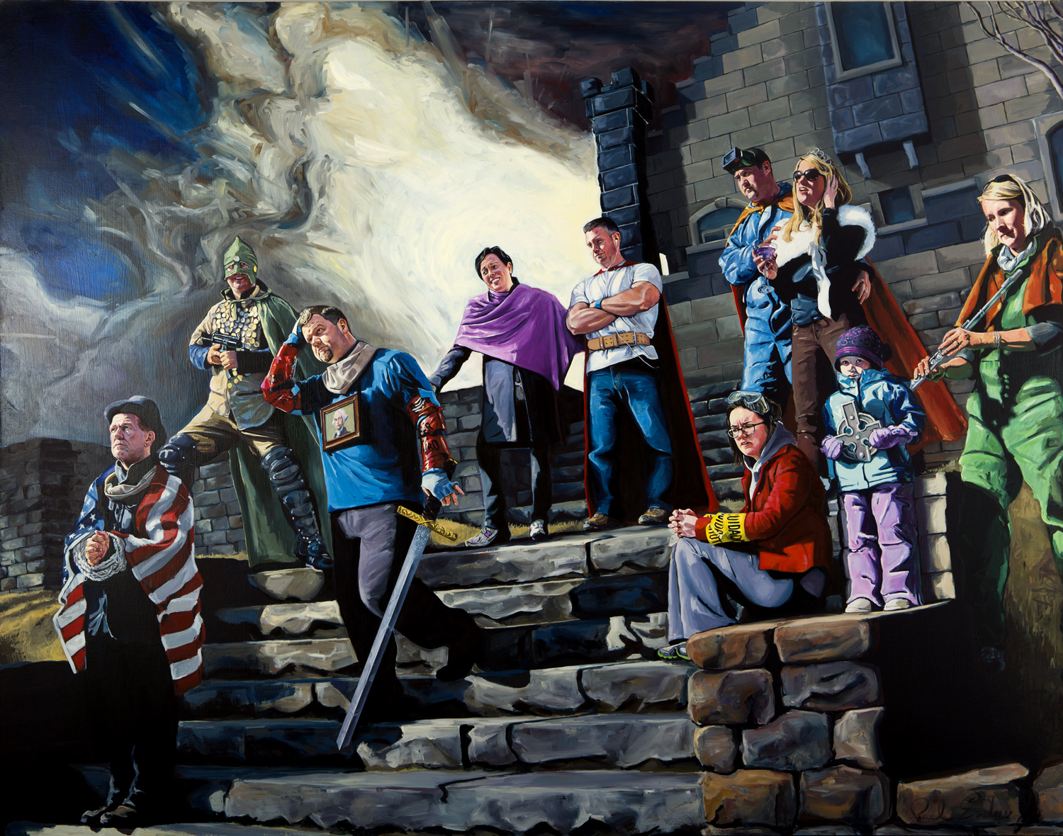 "The Fall of Fort Wixon, 50""x 64"", Oil on Panel, 2012"