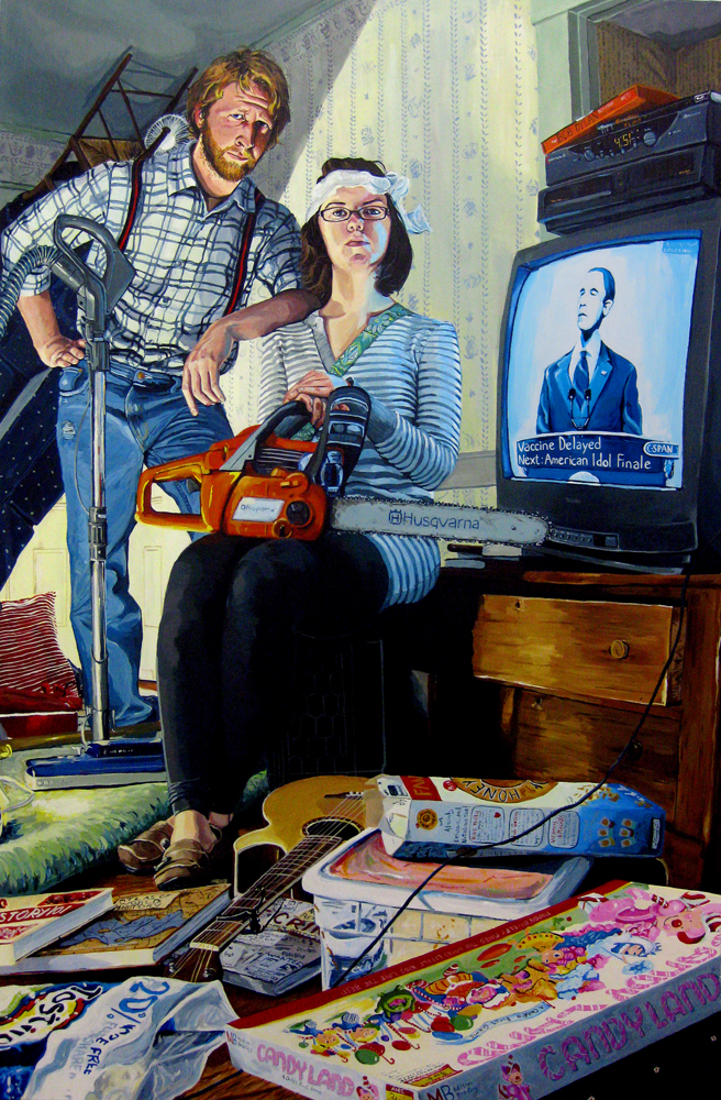 "Mr. and Mrs. Daedalus, 2009, Acrylic on Canvas, 64"" x 42"""
