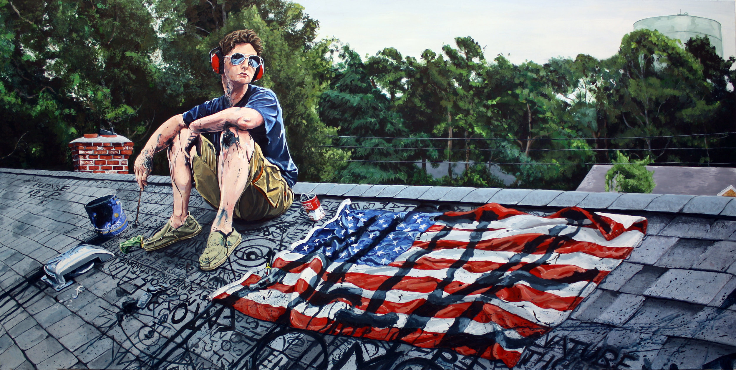 "Portrait of the Artist as a Young Man, 2009, Acrylic on Canvas 24"" x 72"""