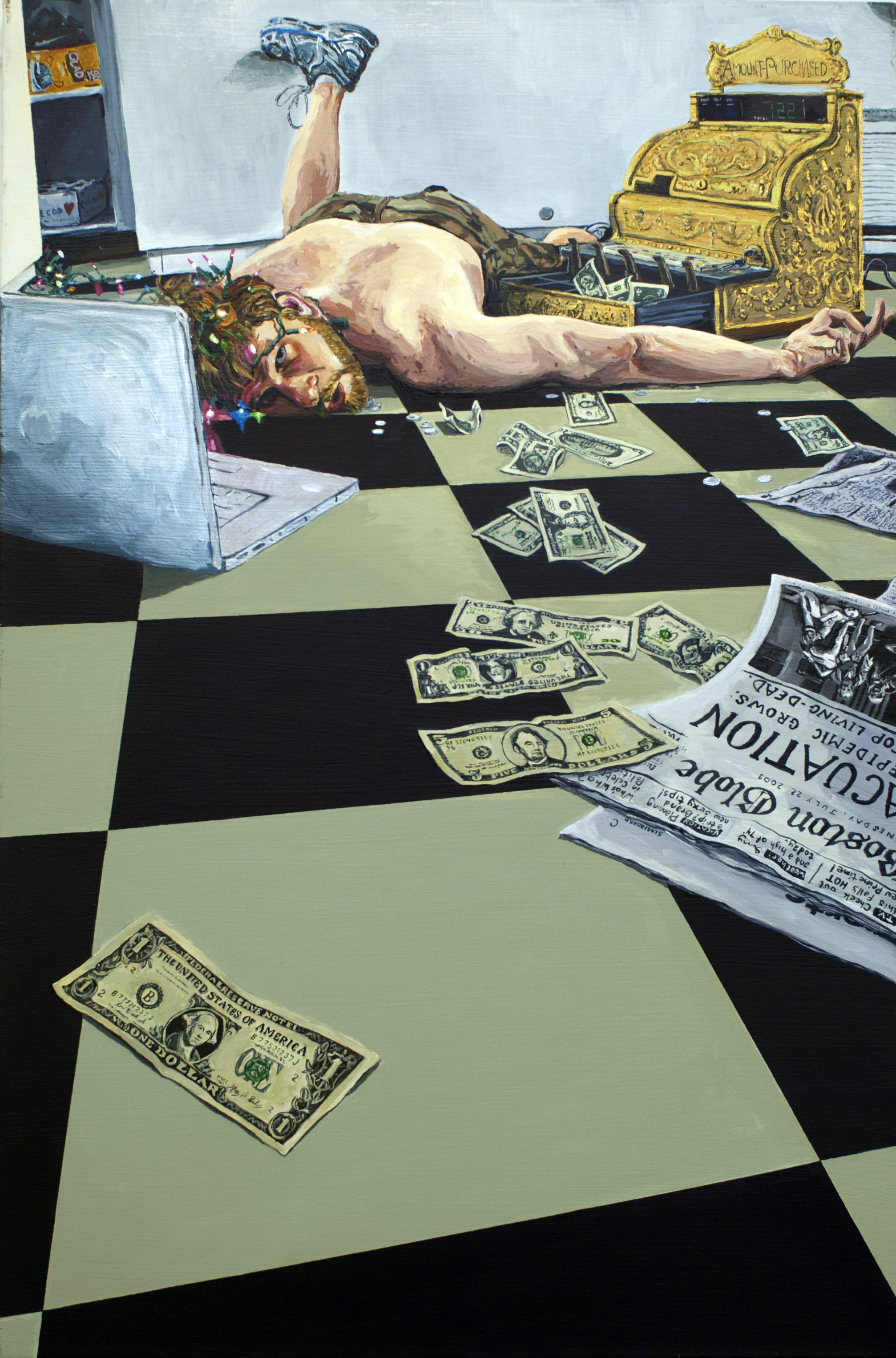"Death of Mr. Daedalus, 2009, Acrylic on Canvas, 36"" x 24"""