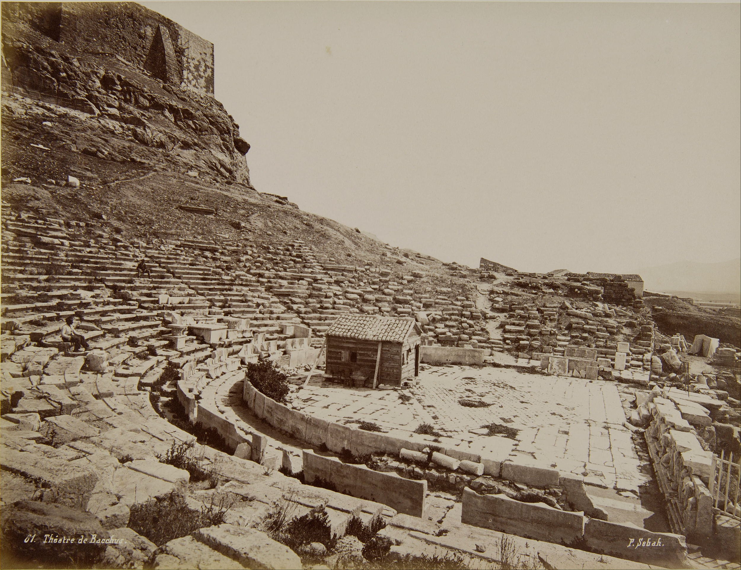 A picture of the theatre of Dionysus in Athens taken in 1870 by Sebah Pascal (1823 - 1886)