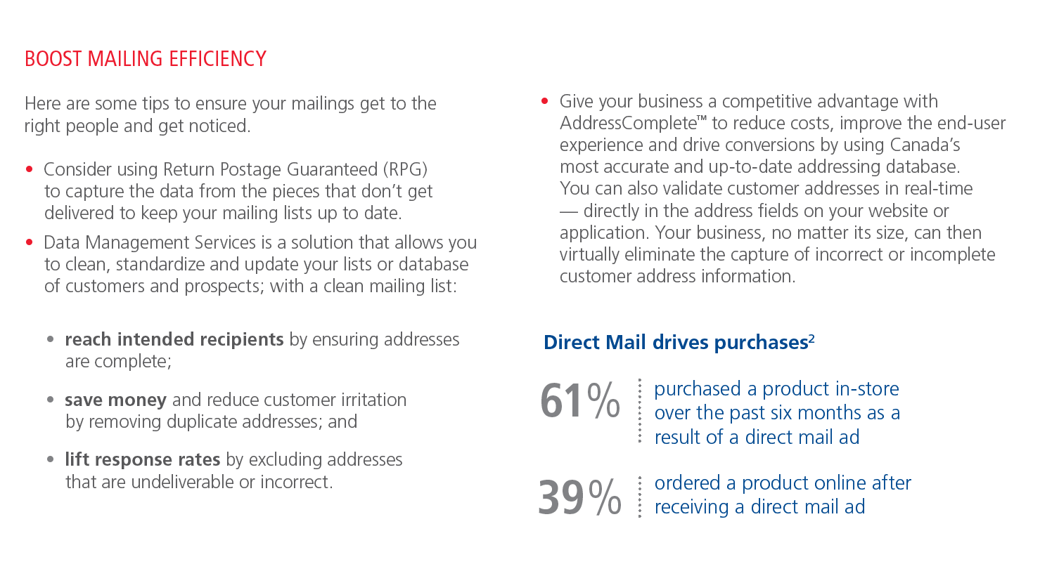 Source: Canada Post: Personalized Mail, August 30, 2018  View Canada Posts full PDF on their website.