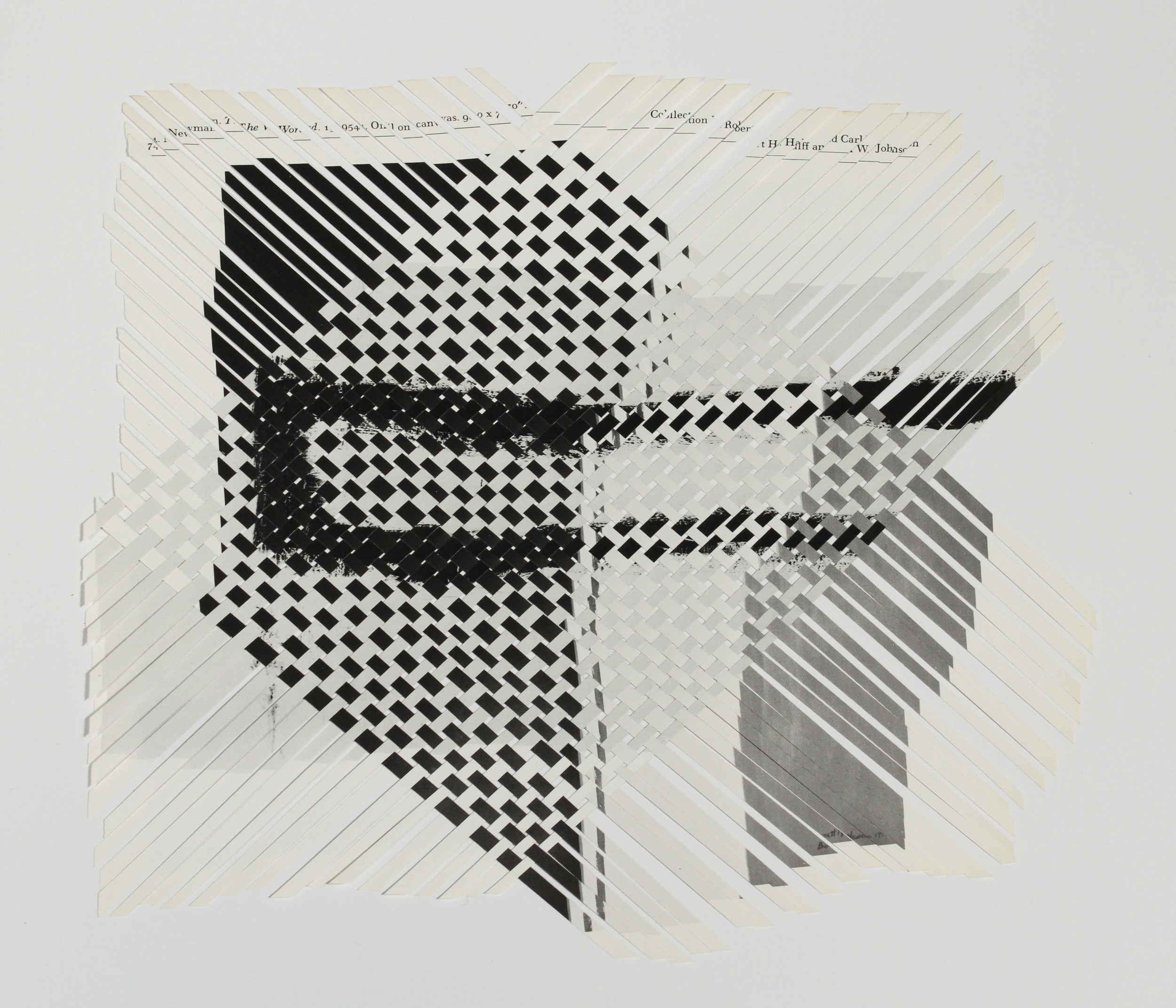 newmanklein (black and white), 2013, paper weaving, 10 x 10