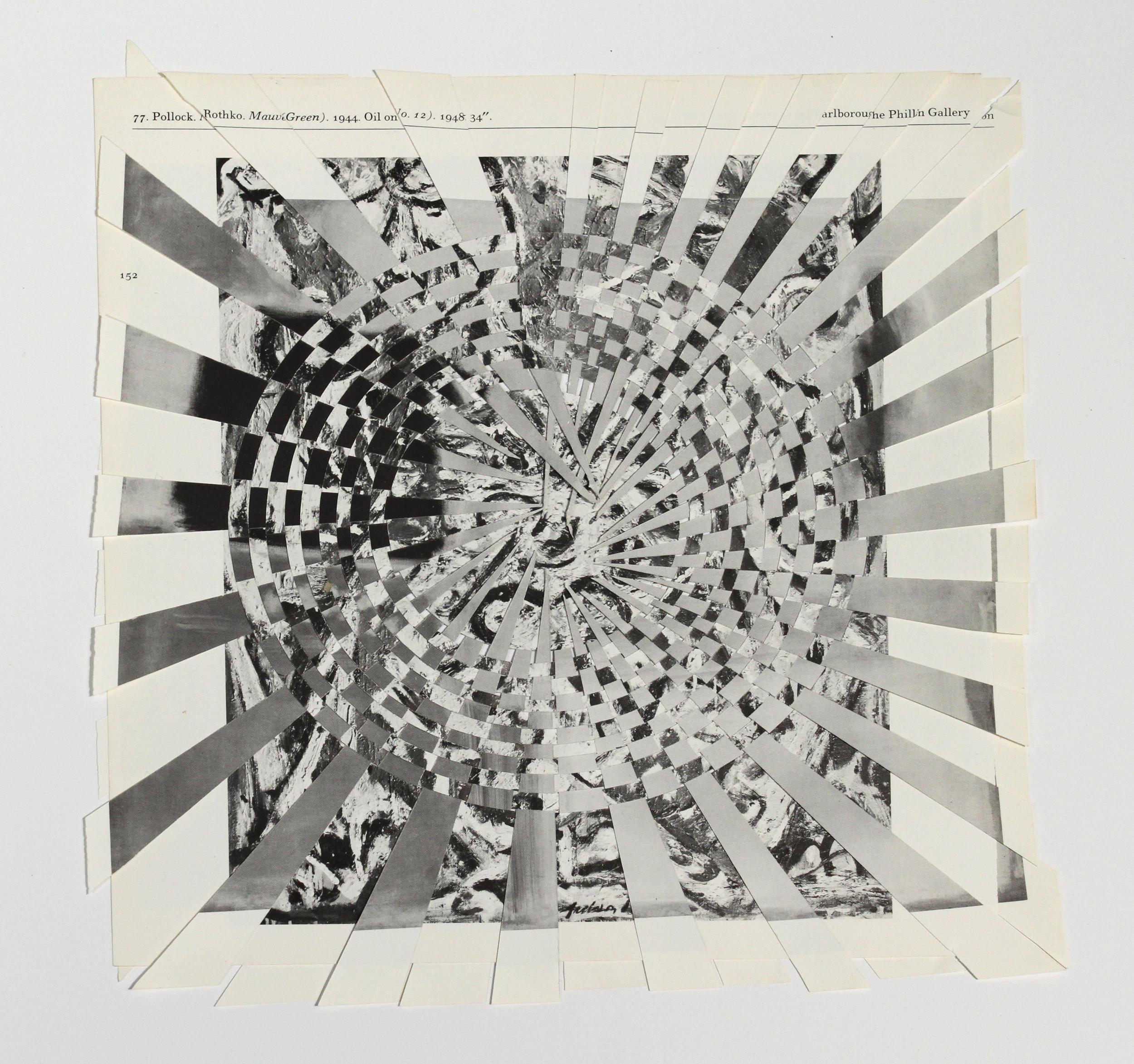 pollockrothko (black and white #1), paper weaving, 10 x 10