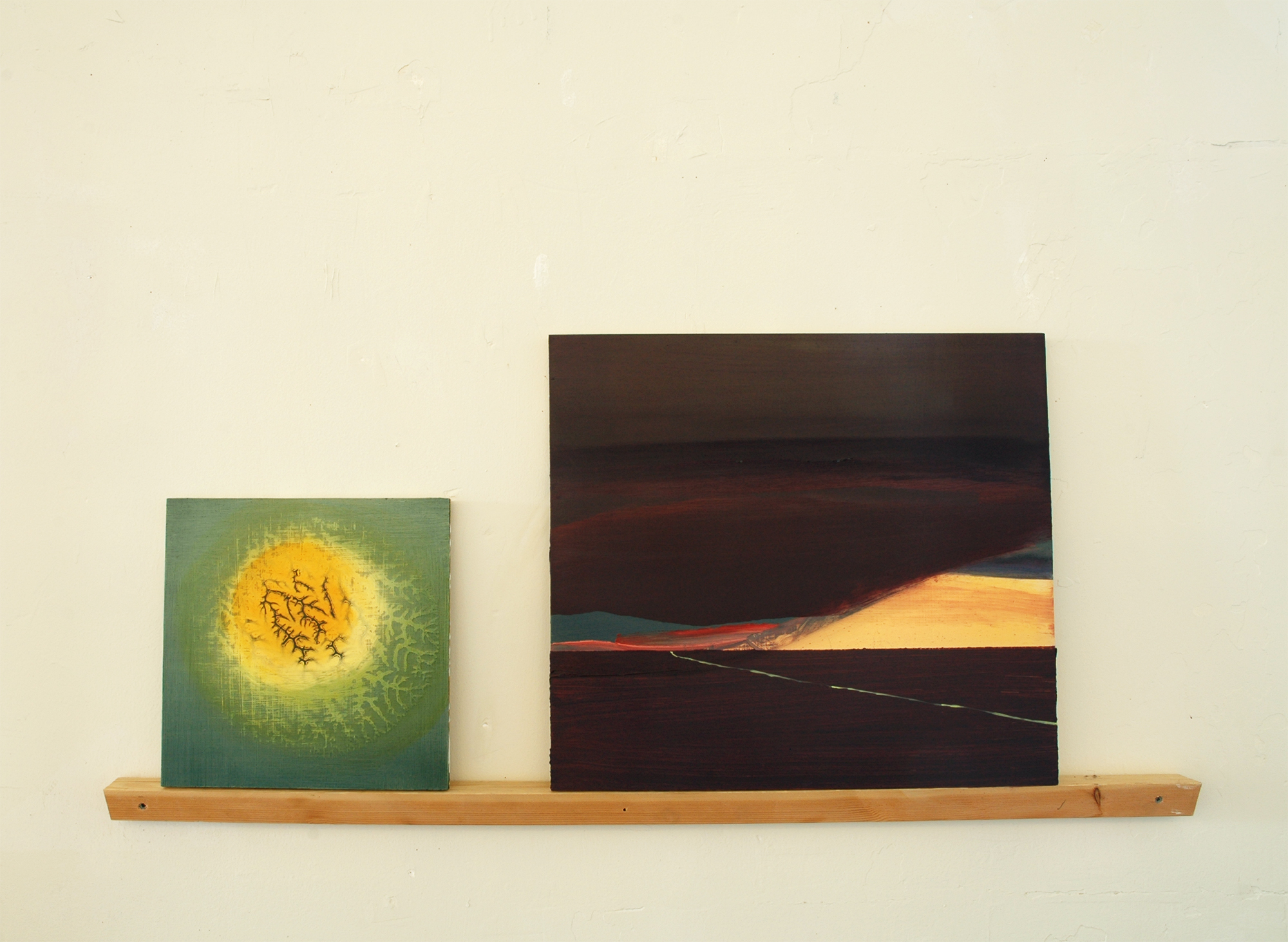 we shared a horizon, 2010, oil on panels, wood shelf, 42 x 24