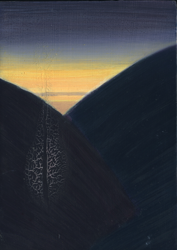 lost coast nights' lights 4, 2009, acrylic and oil on panel, 7 x 5