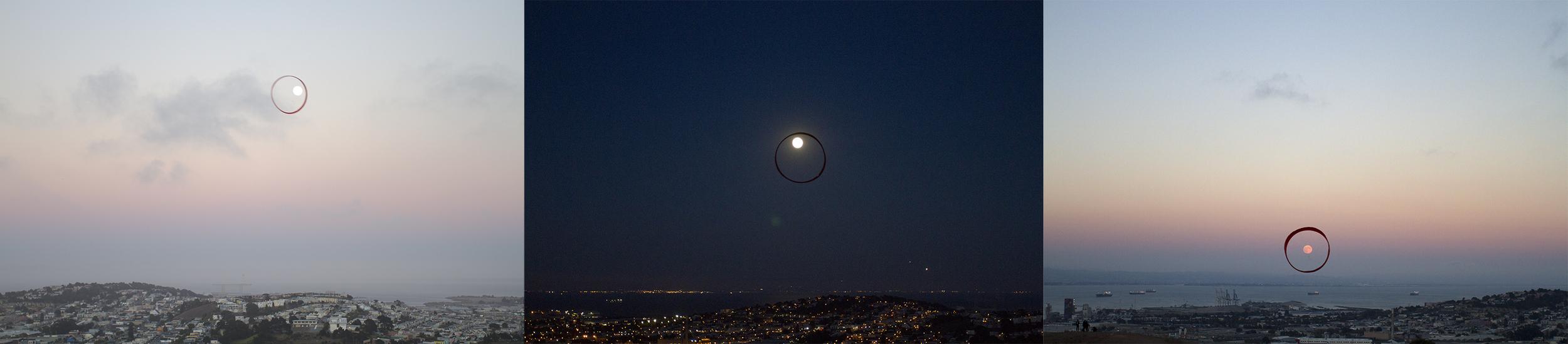 Three Full Moons, 2012-2014, Three Digital C-prints on Di-bond, 20 in x 13.5 in each, edition of 3,
