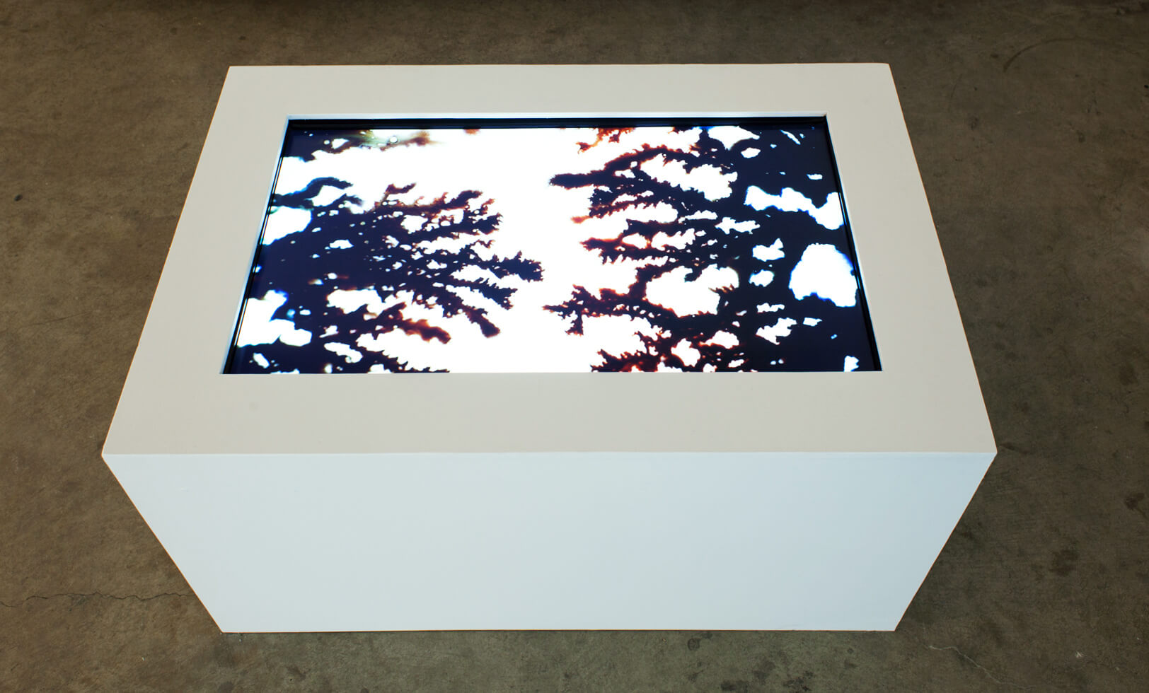 Installation view.  Expansive, 2015, plywood box, monitor, HD video, color, no sound, 5 min