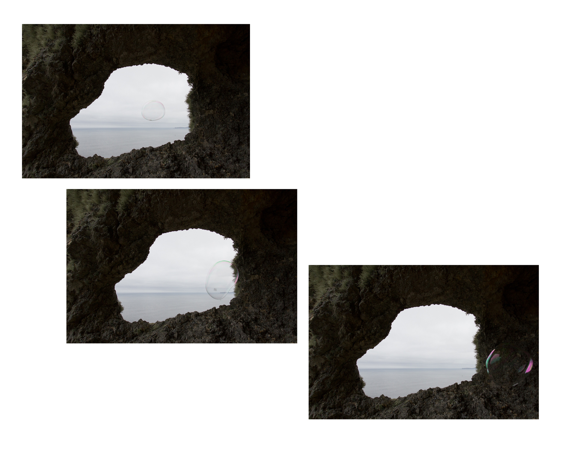 Cave, 2015, tryptych archival inkjet photos, 26 x17 in. ea.