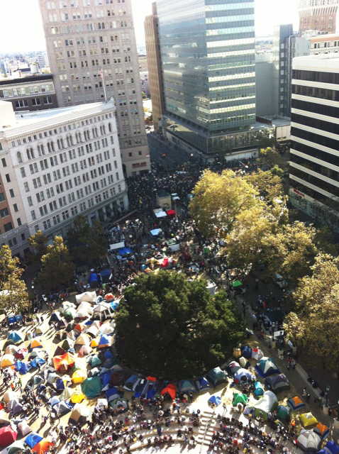 The Occupy Oakland camp was located in front of City Hall and was one of the largest in the country.
