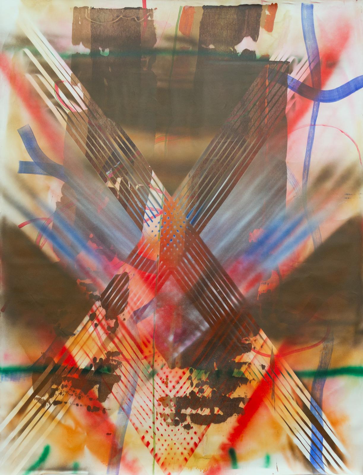 Overspray, acrylic on canvas, 90 x 68 inches
