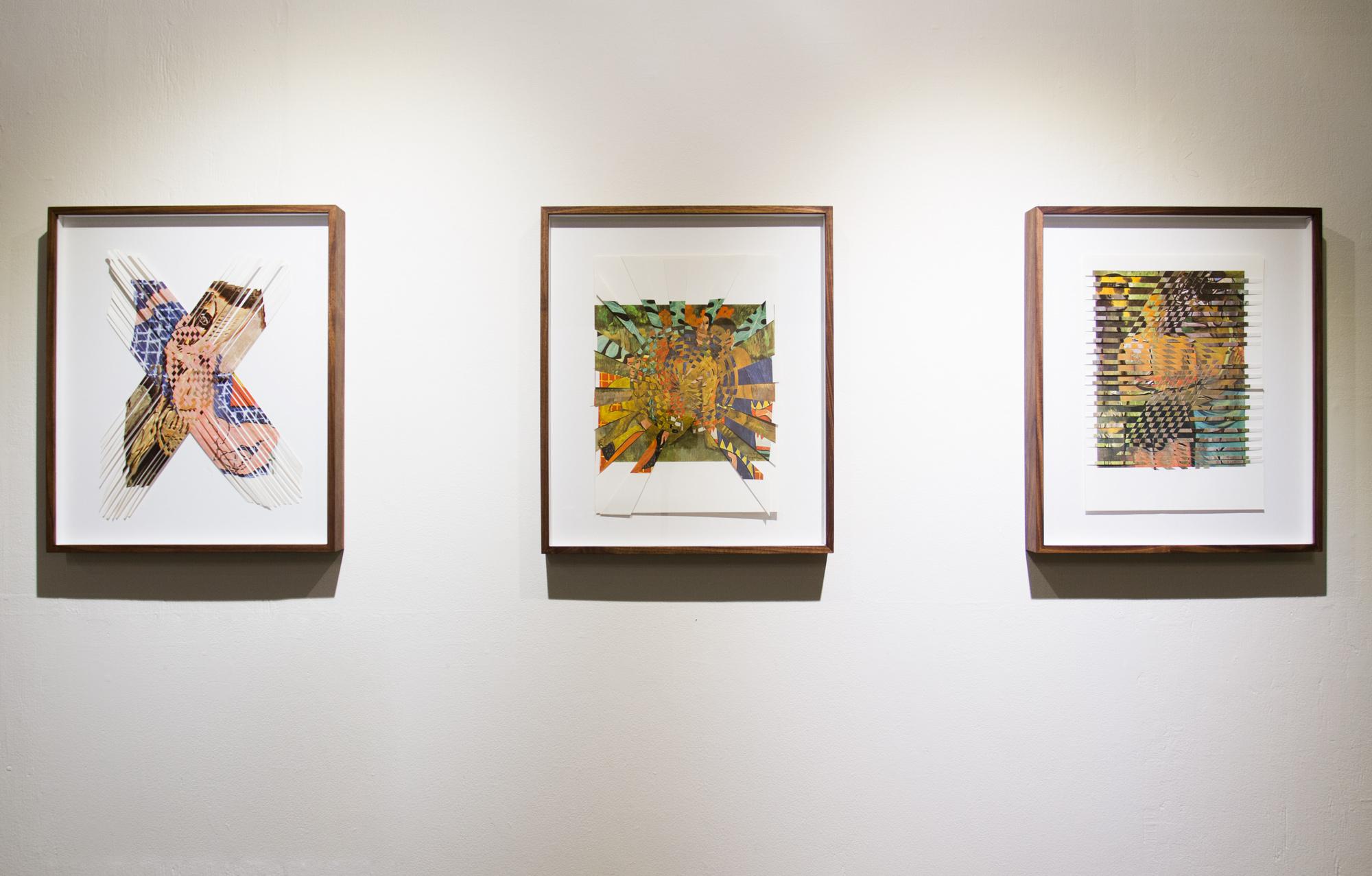 picassomatisse, left, matissegauguin, center, picassogauguin, right. 2016, paper weavings, 16 x 20 in ea.