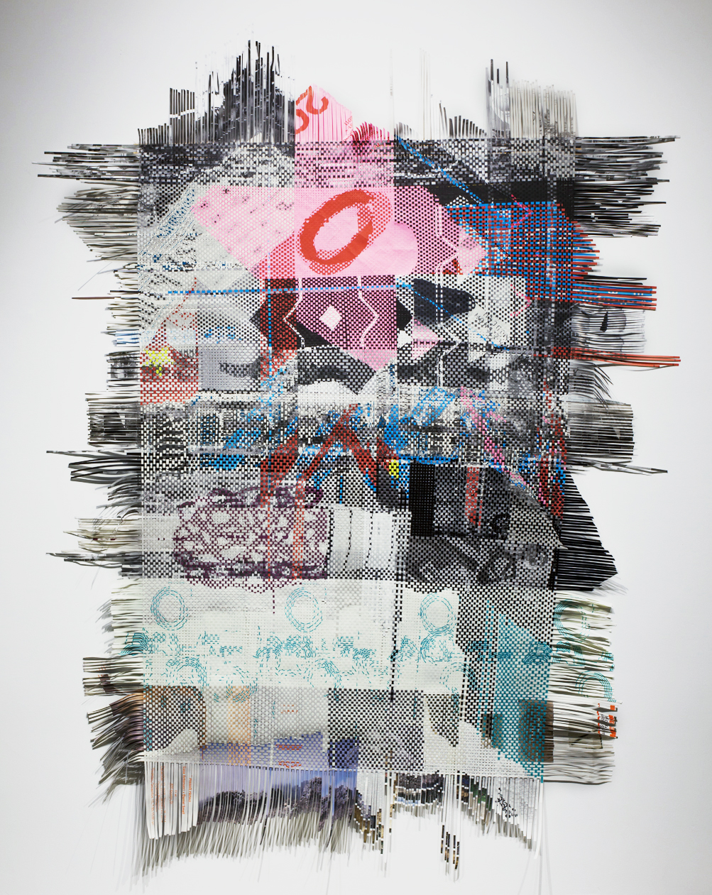 Cultural Fabric, 2014, woven paper ephemera from Bay Area art exhibitions,  110 x 82