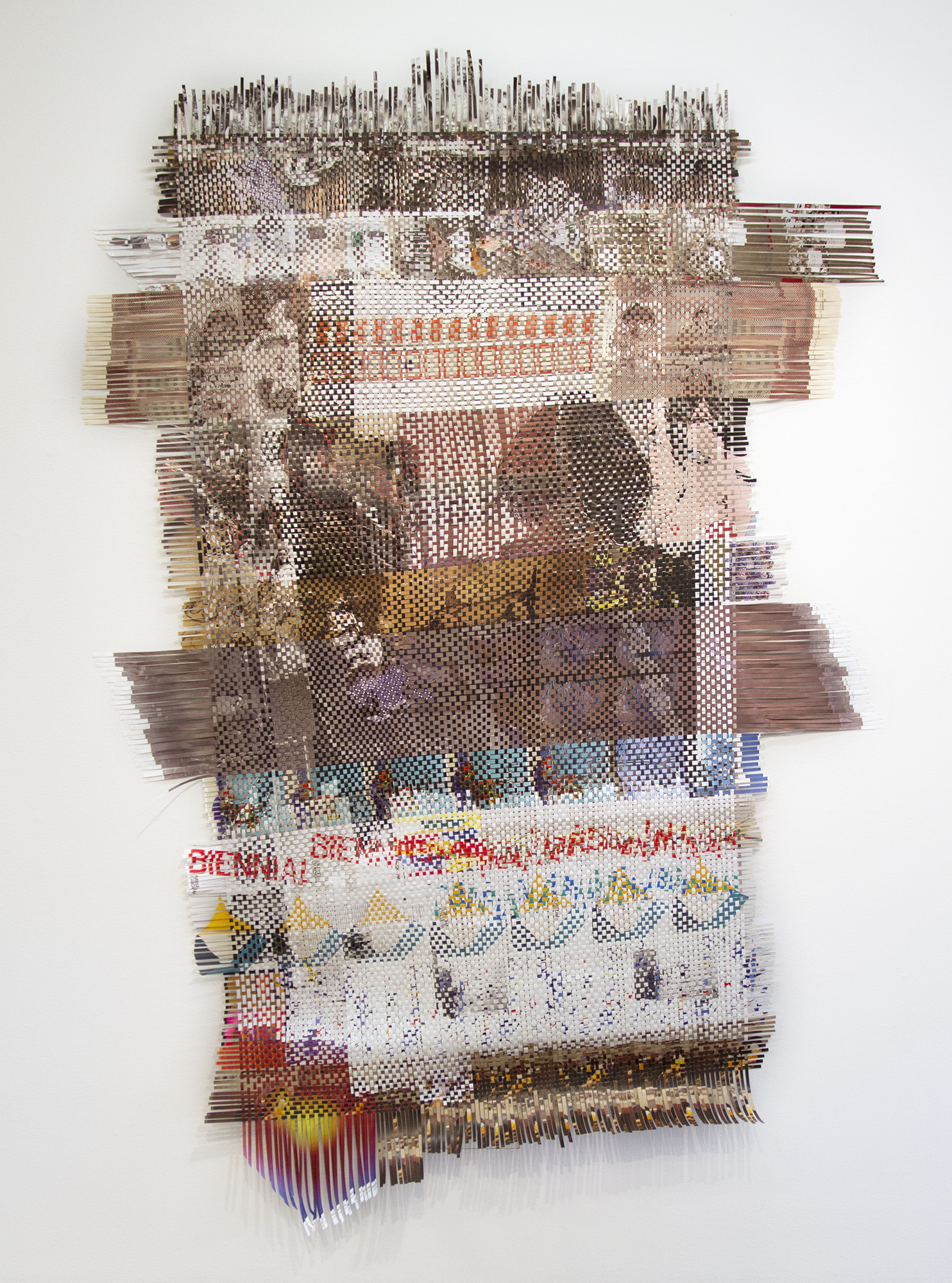 New York, 2014, woven paper ephemera from New York art exhibitions, 98 x 66