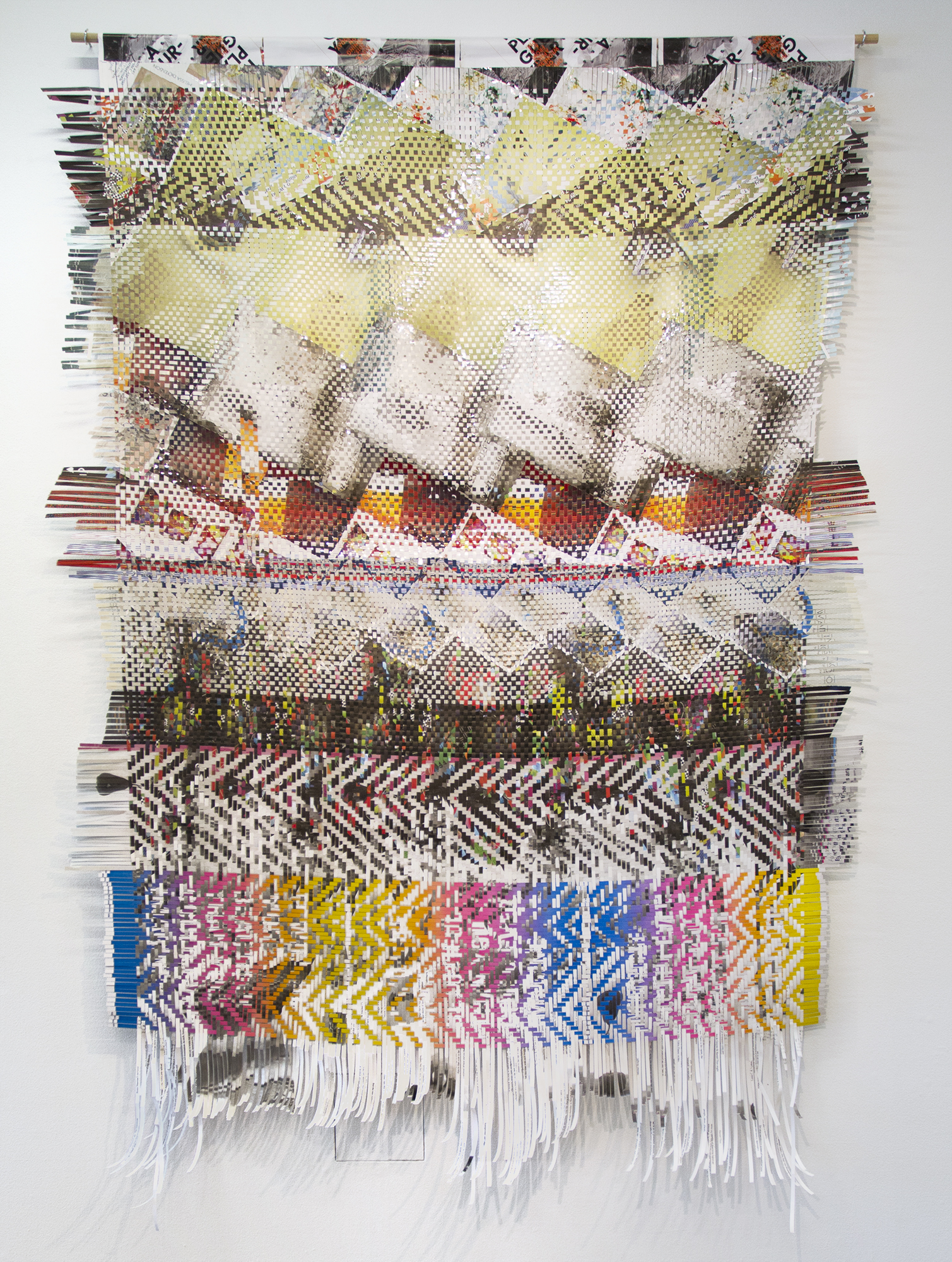 New California, 2015, woven paper ephemera from California  art exhibitions, 103 x 73
