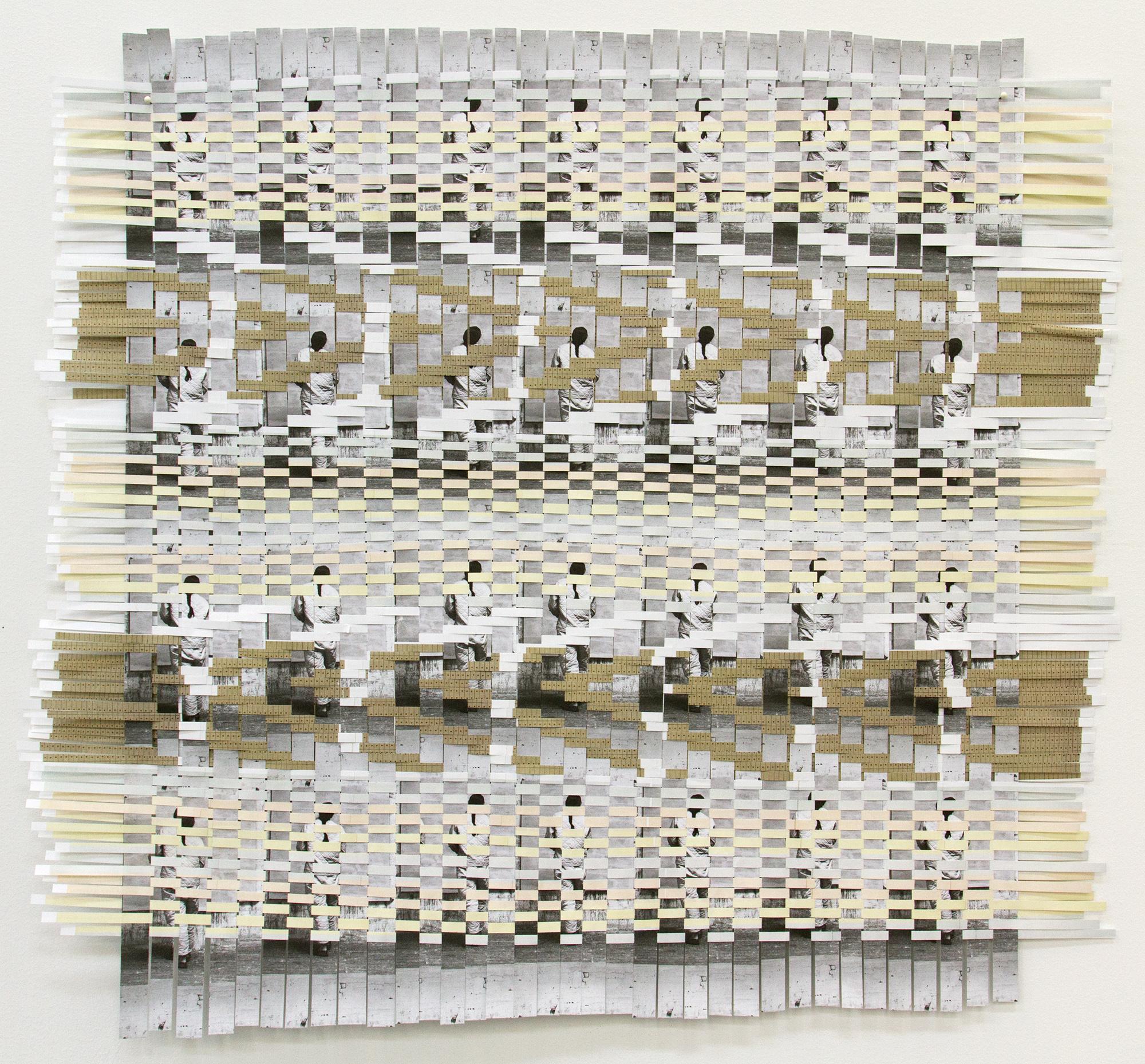 agnesmartin, 2017, woven exhibition brochures, 26.5 x 29 in.