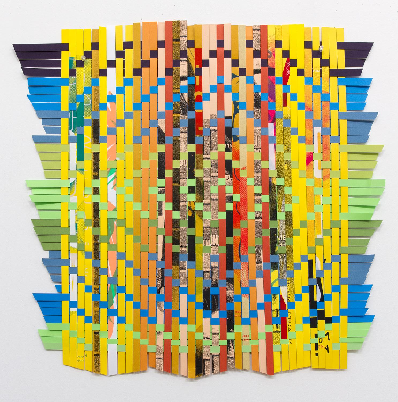 "ARL_005, 2017, woven Facebook silkscreen posters, 25x25"""