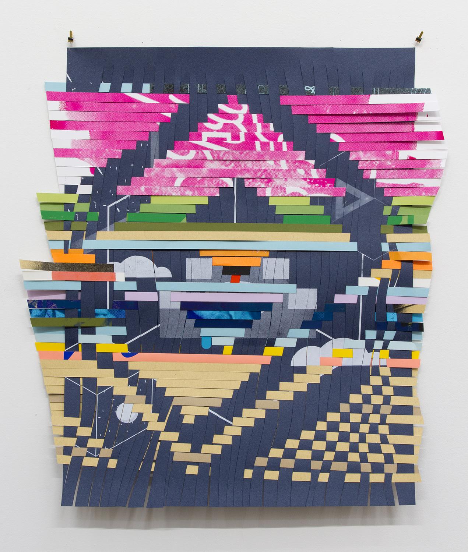 "ARL_008, 2017, woven Facebook silkscreen posters, 26 x 24"""
