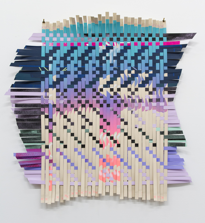 "ARL_009, 2017, woven Facebook silkscreen posters, 27x 27.5"""