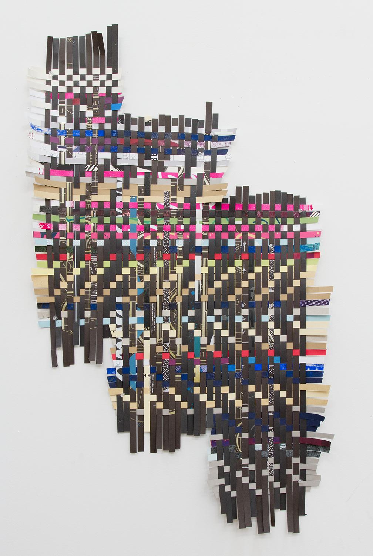 "ARL_011, 2017, woven Facebook silkscreen posters, 43x25"""