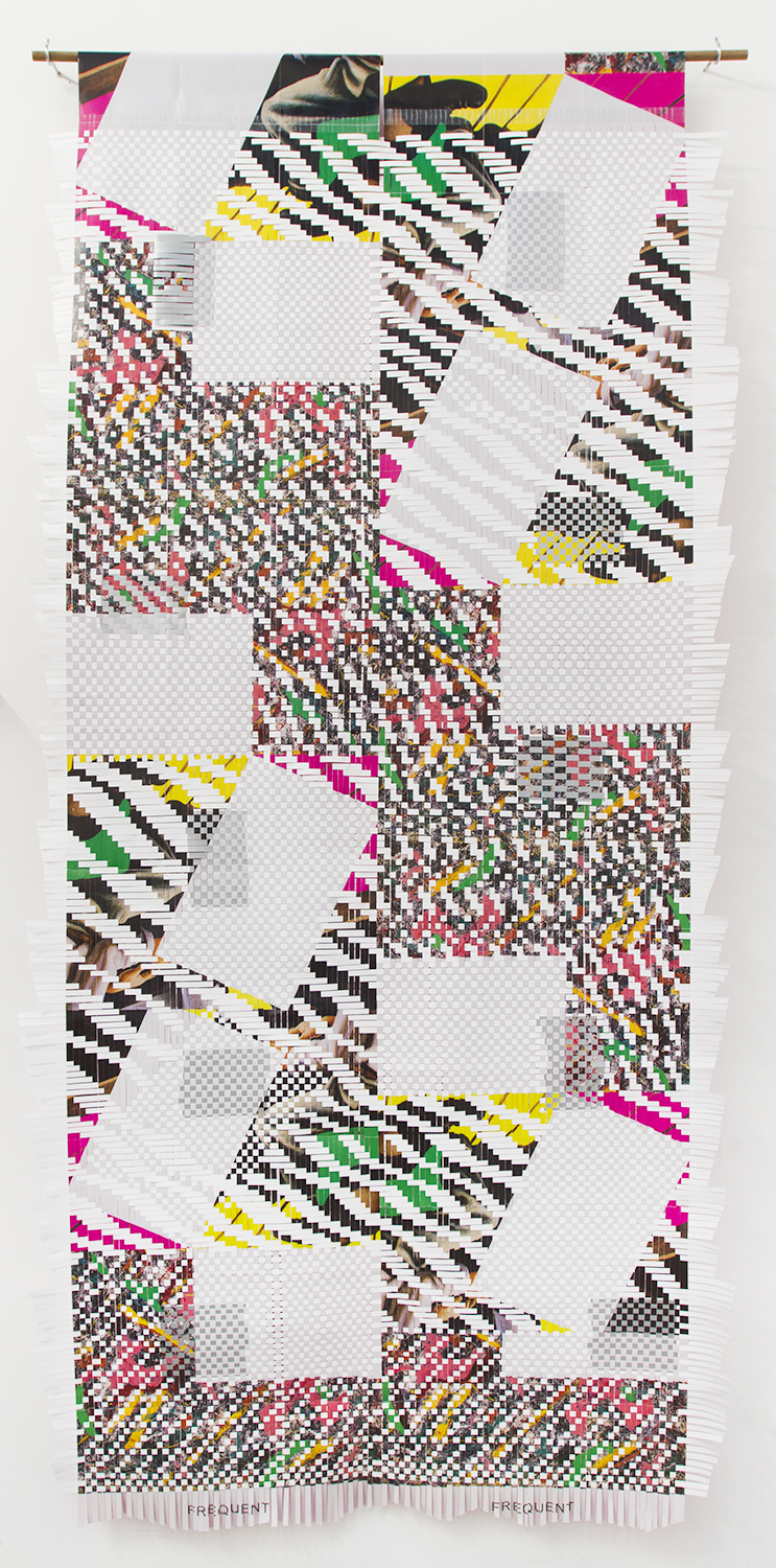 GonzalezTorresBaldessariPollockBenton (GTBPB), 2018, woven posters from art exhibitions, 100 x 48 in