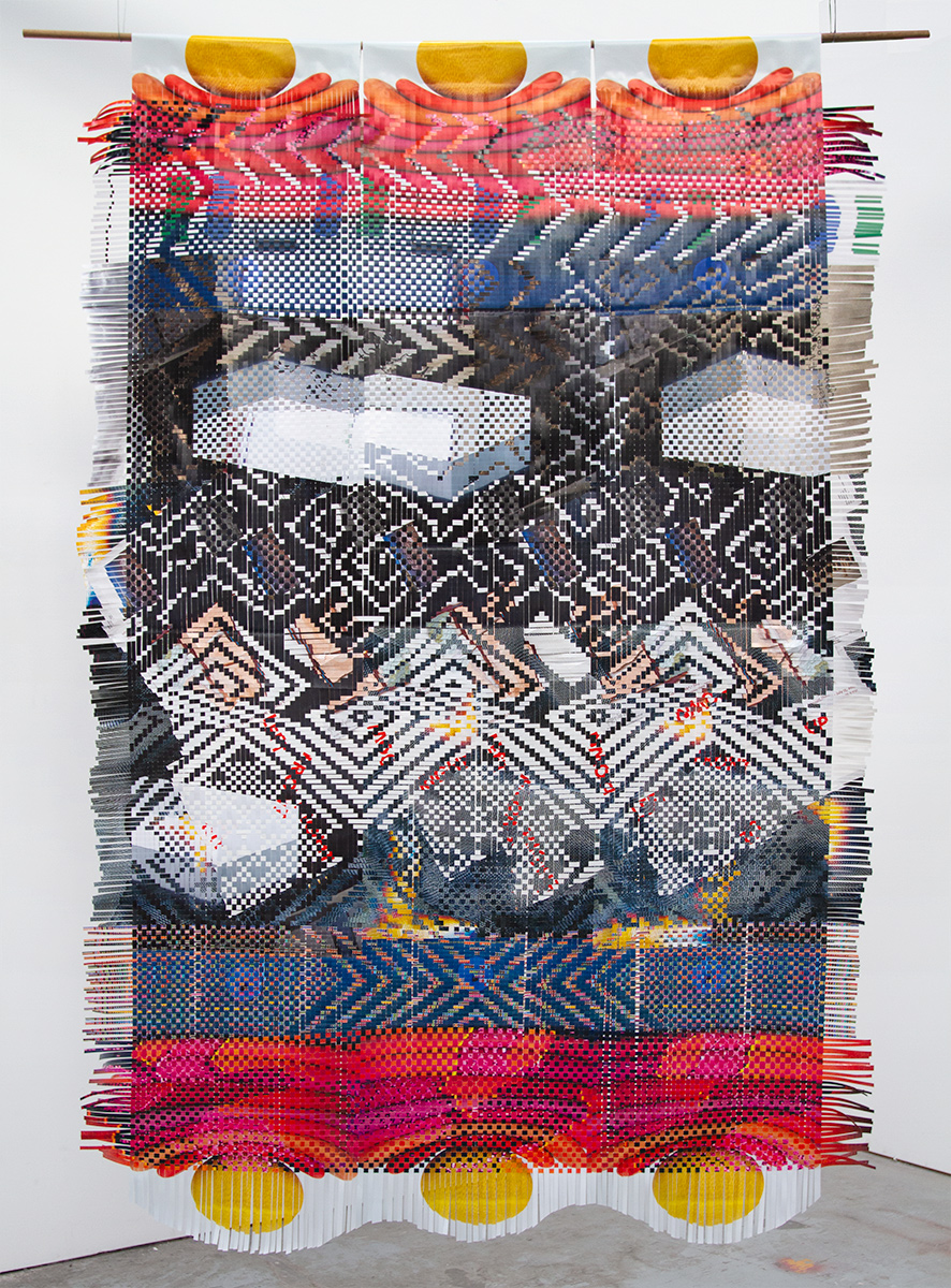 Last Weaving, 2018, paper ephemera from art exhibitions, 100 x 65 in.