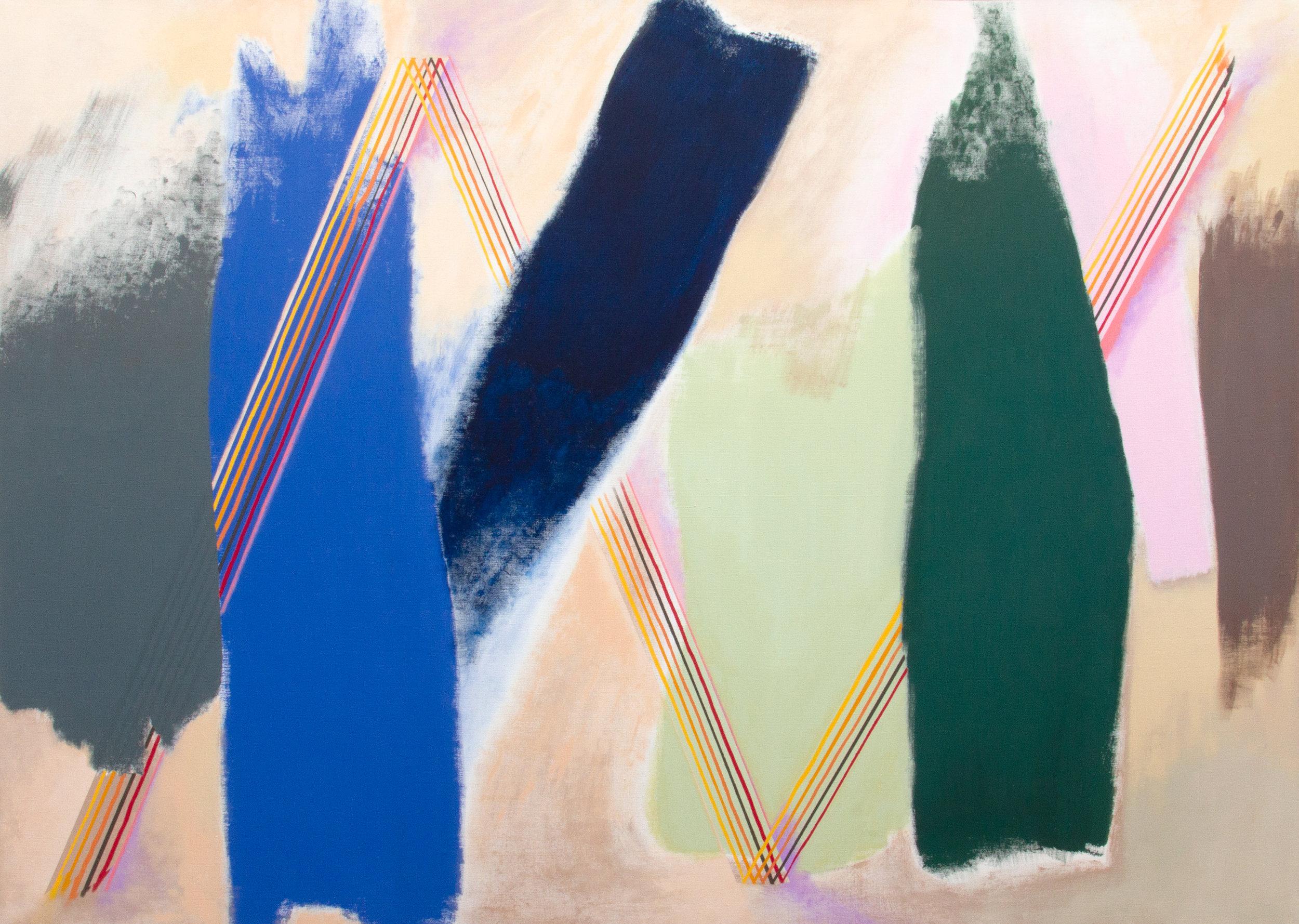 """Dzig Dzag, 2018, acrylic on canvas, 98"""" x 77"""""""
