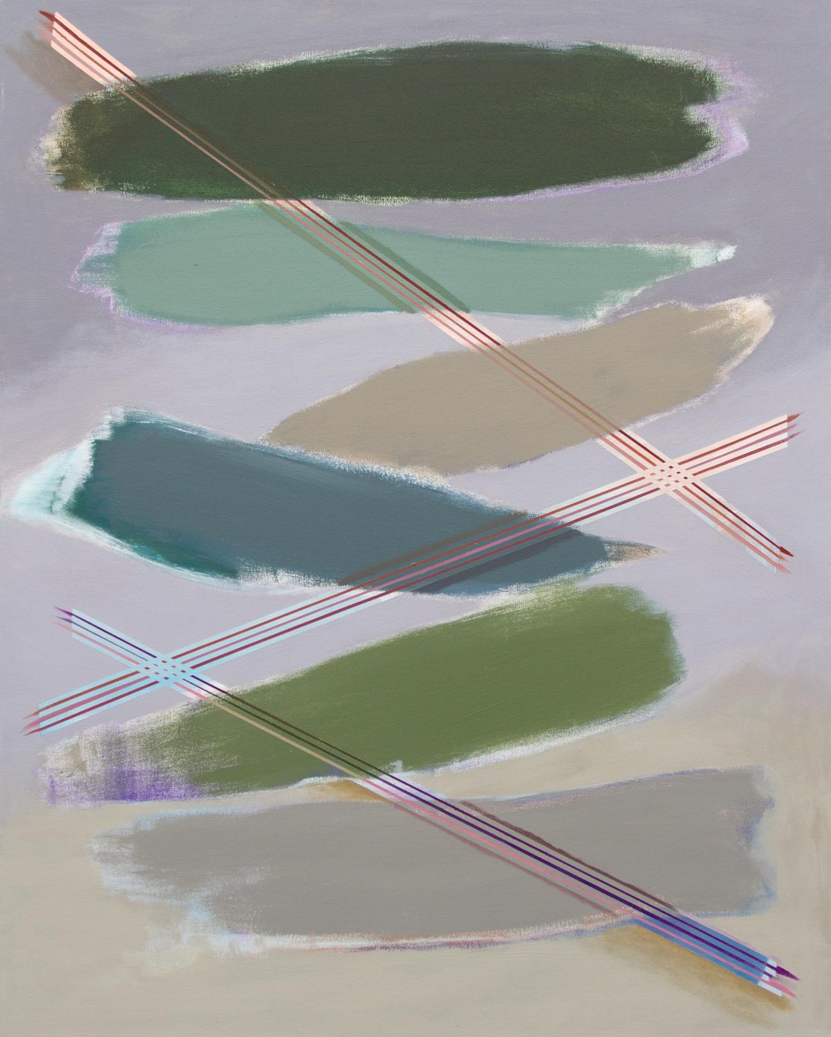 "Zig Zag Grey,  2018, acrylic on canvas, 40"" x 50"""