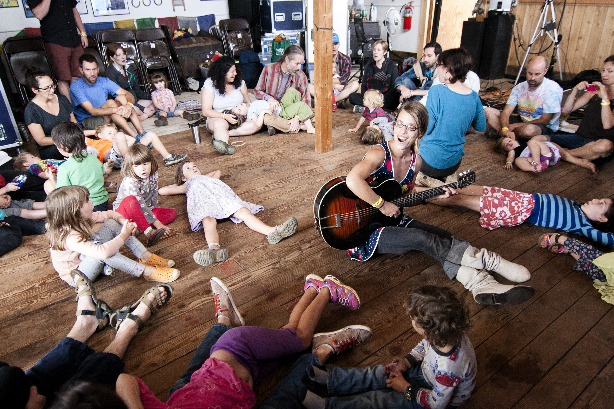 Early morning sing-a-long at Pickathon Music Festival