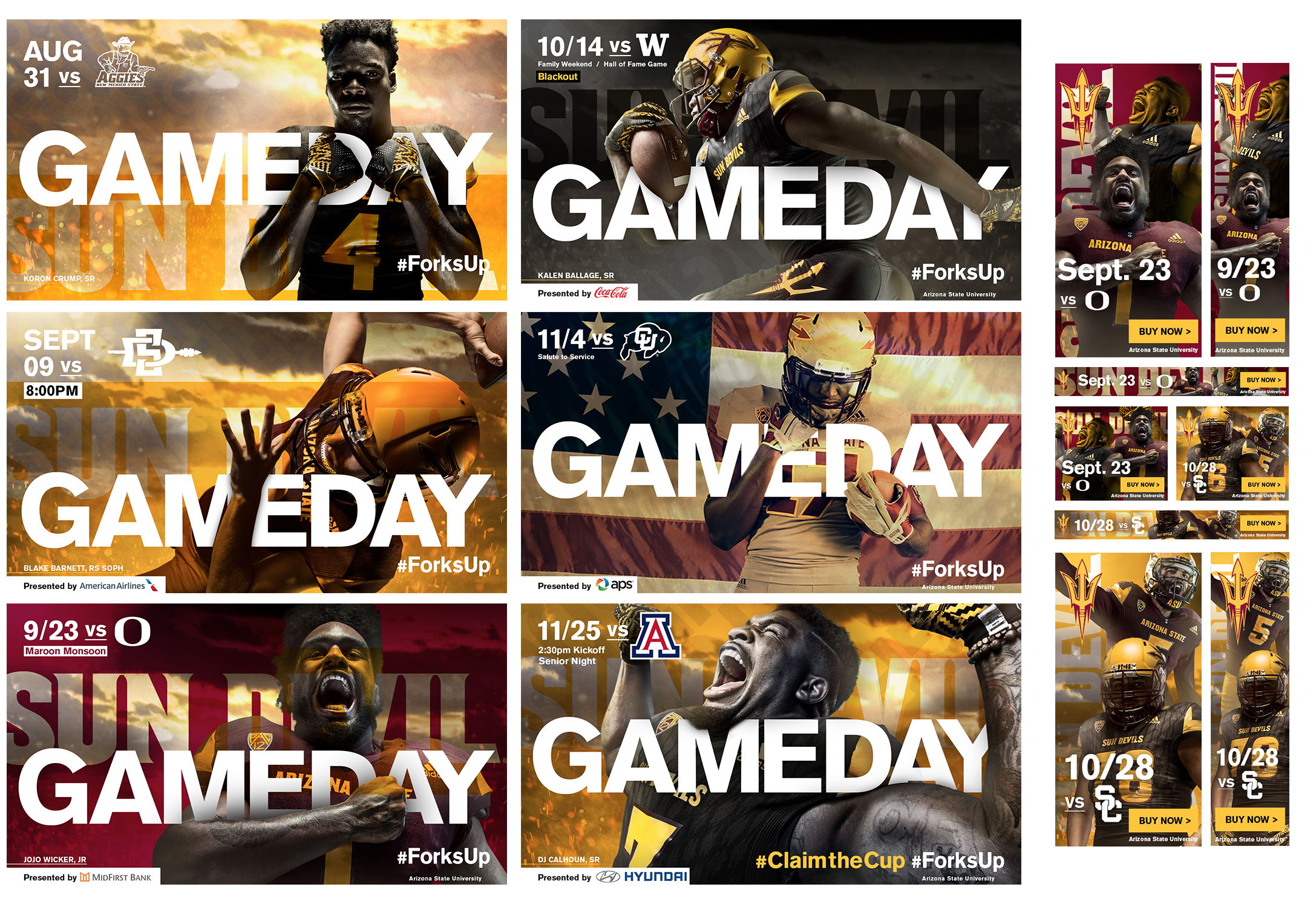 "ASU Athletics Fall 2017 Football Ad Campaign    SUN DEVIL TOUGH  —  ""EVERY DAY IS GAME DAY""  — adidas  Conceptualization, design + production. Adobe InDesign, Photoshop + Illustrator  Addy Award · Silver   cr8@ sun devil athletics, arizona state university"
