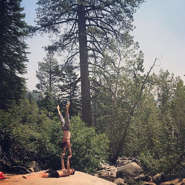🌲🌲🌲Standing with the trees in Squaw Valley with @acroluke . . #acroyoga #acro #hand2hand #h2h #partneracro #handstand #handstandtraining #trees #squawvalley #wanderlust #yoga #nature #green