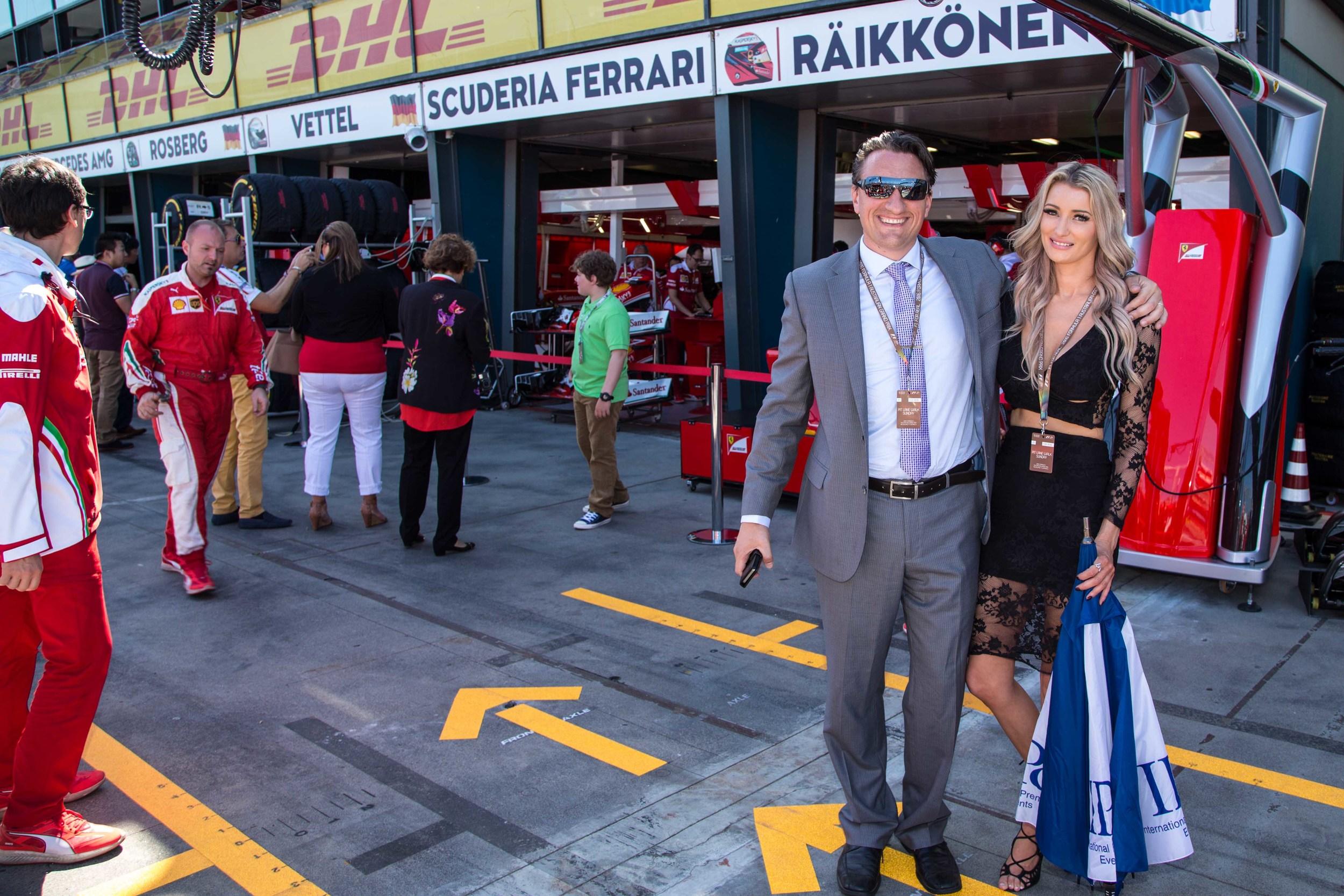 Andre with Sheridan – inside Ferrari Pit