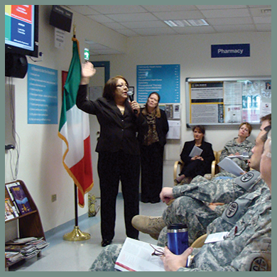 USAF Retired Officer, Dr. Paulette Bethel, CMC, Licensed Marriage & Family Therapist, and Donna Musil, Executive Director, BWB, instructs medical staff at Vicenza Hospital in USAG Vicenza, Italy.