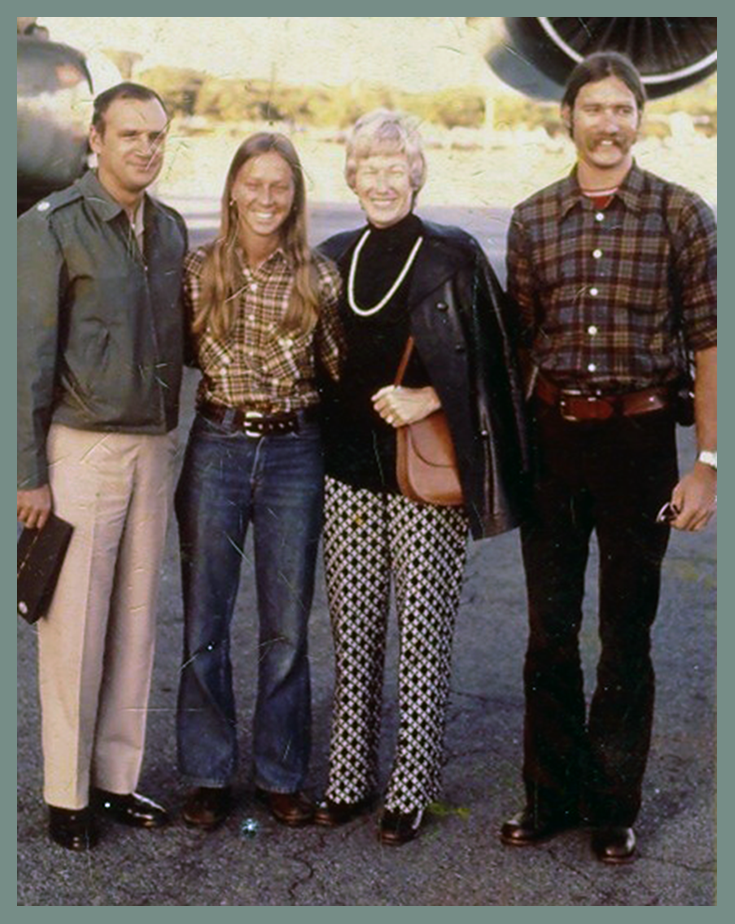 Donna and her brother visiting their parents in Uruguay (her father was the embassy's military attache) on Christmas break from college.