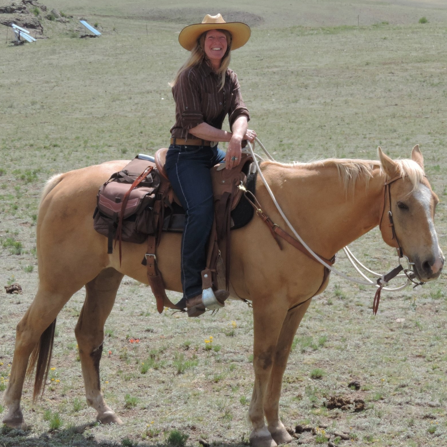 Chrissy McFarren   Chrissy has a love for the land and all the beings that inhabit it.  She is an intuitive horsewoman with a lifetime of experience, from training and exercising Thoroughbreds on the track, to caring for rescue and rehab horses, to teaching beginners to ride, she does it all with a sensitivity that puts both horses and humans at ease.  Prior to purchasing Badger Creek Ranch, Chrissy owned and operated Full Circle Farm in West Virginia where she, and her family, hosted farm stays and retreats.  She is a trained facilitator and in 2011 she founded a non-profit dedicated to healing and self-development through connection with nature.   Chrissy is knowledgeable in holistic farm and ranching practices having raised and sold pastured pork and poultry for 8 years at Full Circle Farm.  Chrissy oversees the purchase, care, pasture rotation, and processing of our pastured pork and poultry.   Skilled in hospitality, Chrissy creates and oversees a clean, comfortable space for guests that makes them immediately feel at home.  Guests enjoy learning about the Native American history and culture as Chrissy shares her extensive knowledge of Native tradition.  Dedicated to caring for the animals and the land, Chrissy keeps a close eye on both, riding out to check and move cattle, monitor grass, water, and fences, all while ensuring a safe, enjoyable experience for our guests.
