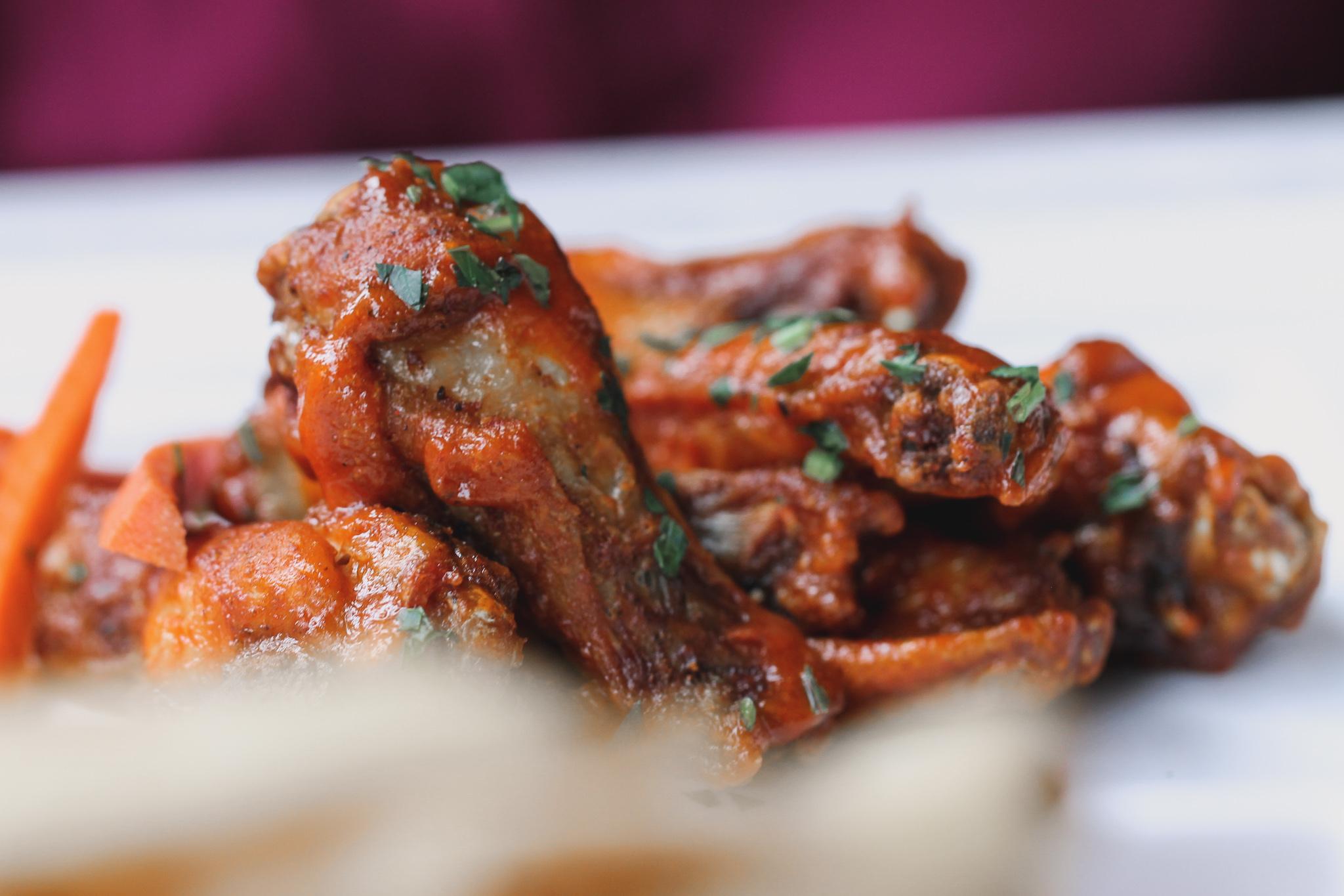 Cambria Dallas Hotel    House Wings  Guajillo BBQ or Buffalo with Pickled Carrots + Ranch