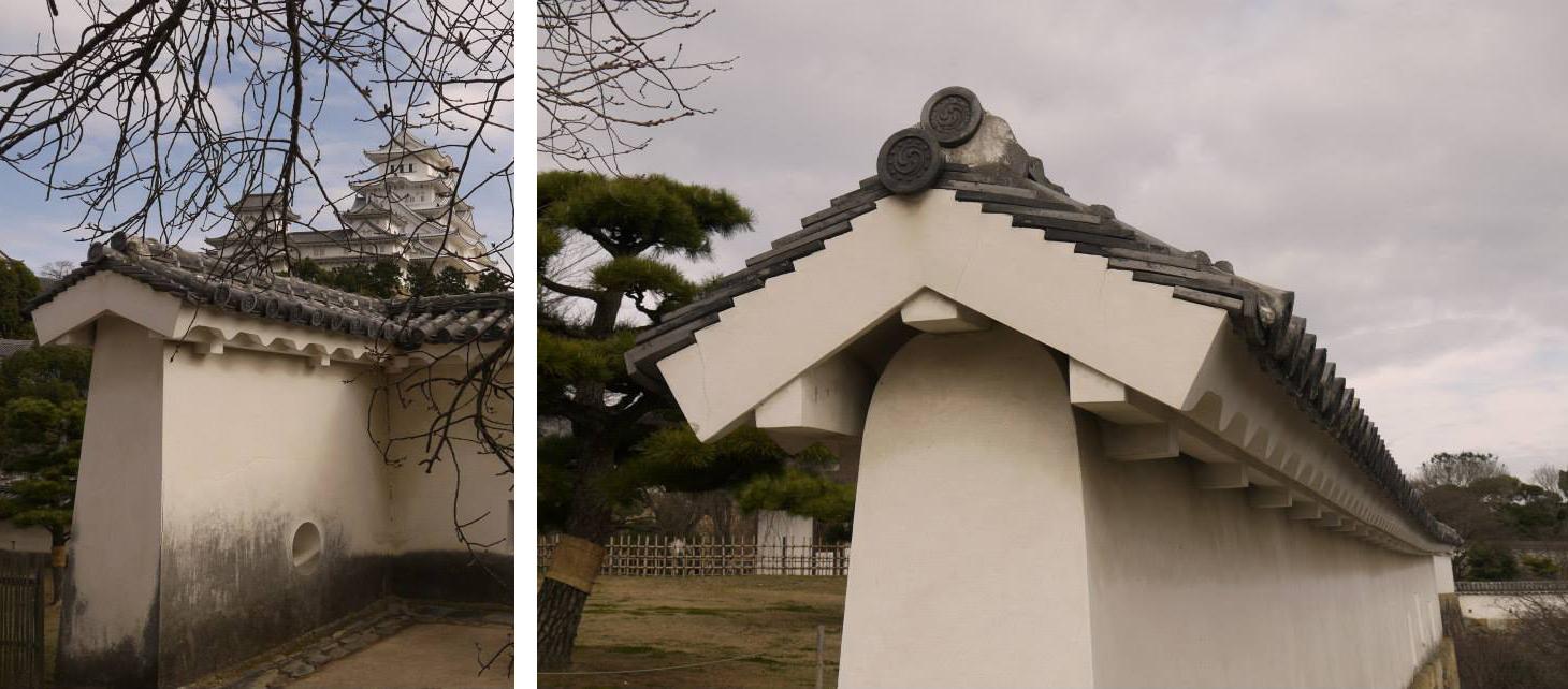 「塀」建造於石垣或土壘上,塀上狹間作為城內防禦攻擊的開口