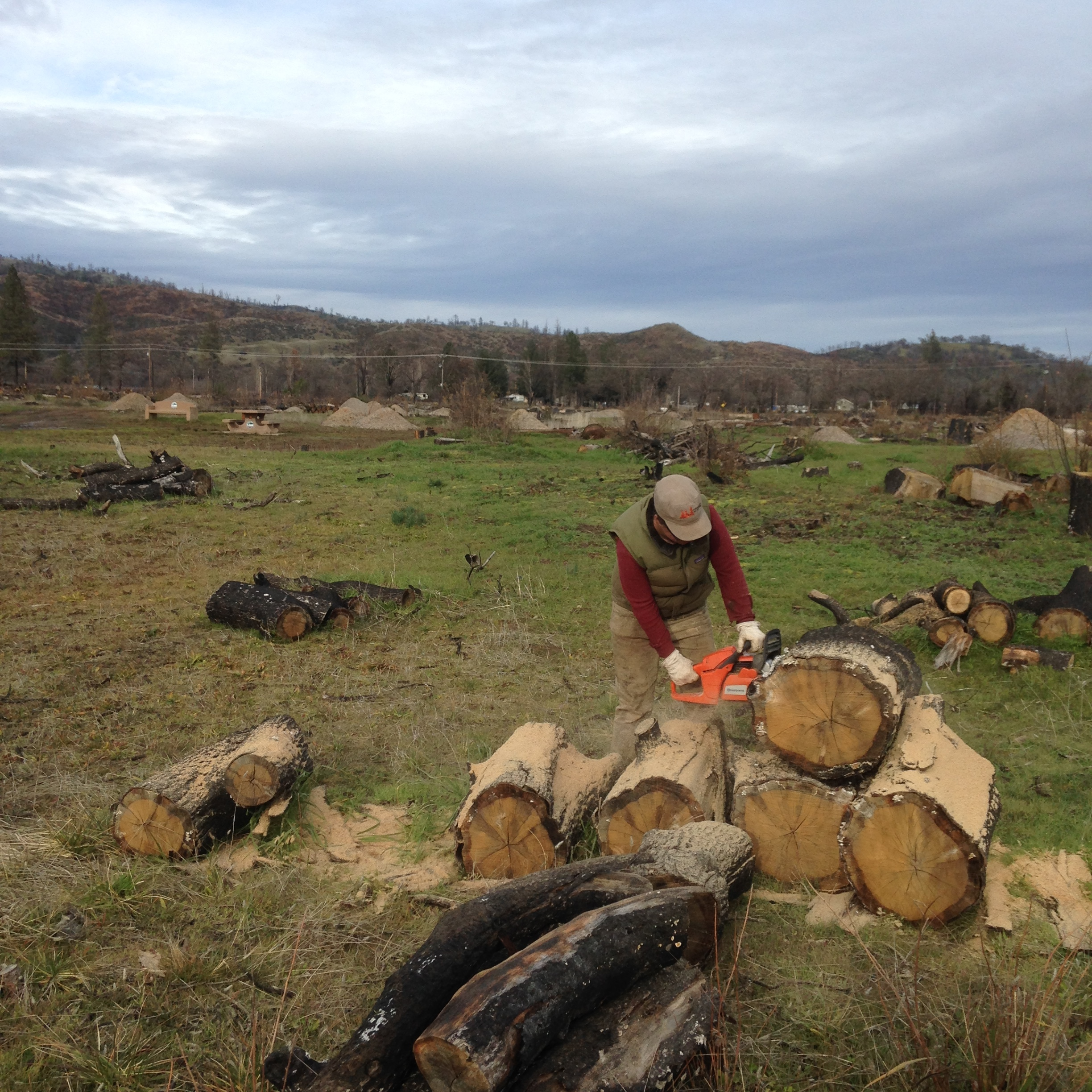 Shasta Krueger cutting up oak that was burned in the Sawmill fire last year. This wood will be used to heat the resident house, studio and in the kilns