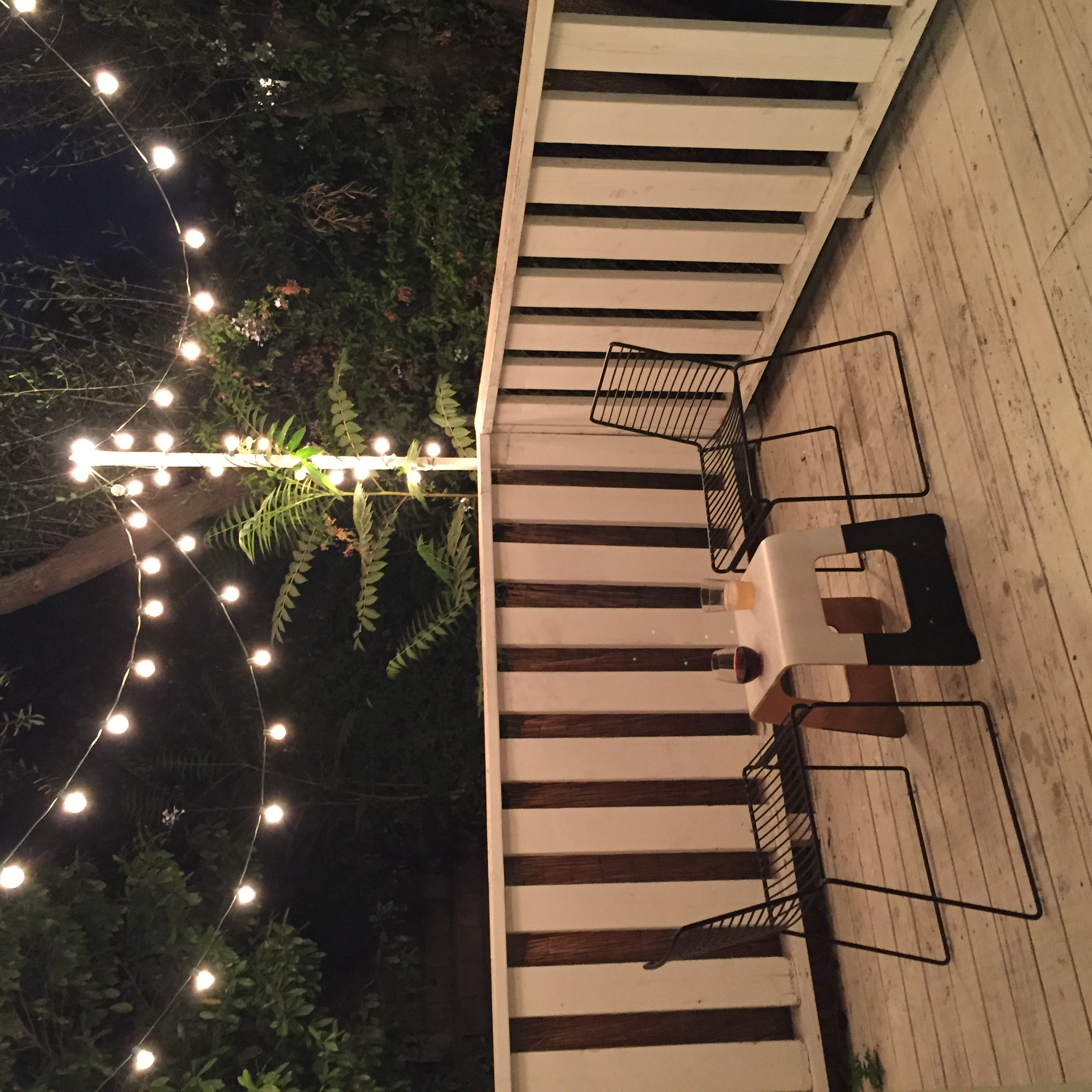 Molly's charming Silver Lake deck. our drinks of choice: red wine for Molly, French 75 for Taylor.
