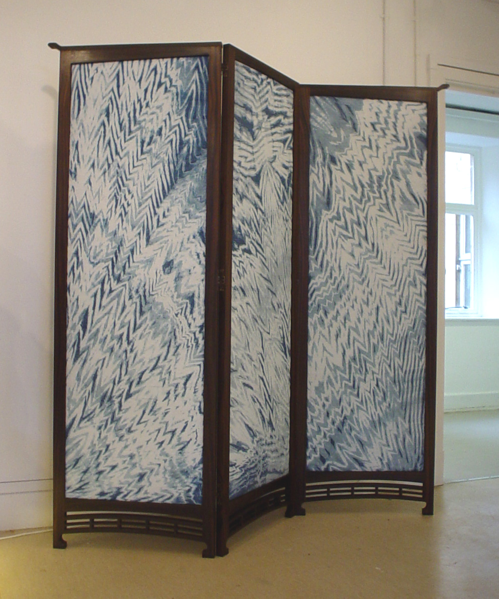 Japanese Rosewood and Silk Screen