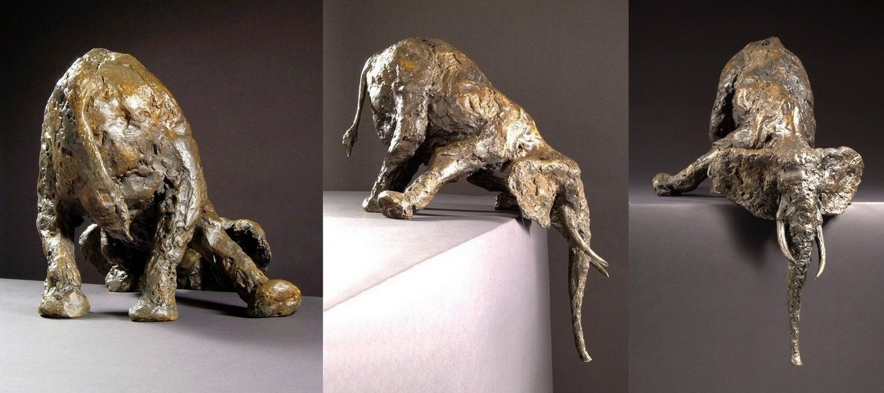 Drink - Bronze, 66 x 49 x 41 cms. Edition of 8. (hangs 31 cms below plinth level). £5,200.00 + p&pDuring the dry months, Elephants often search for water by digging holes deep into the sandy riverbeds.