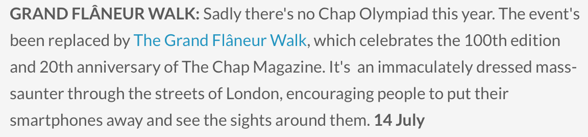 Londonist  included the Walk in their monthly round-up of 'Things To Do' in July