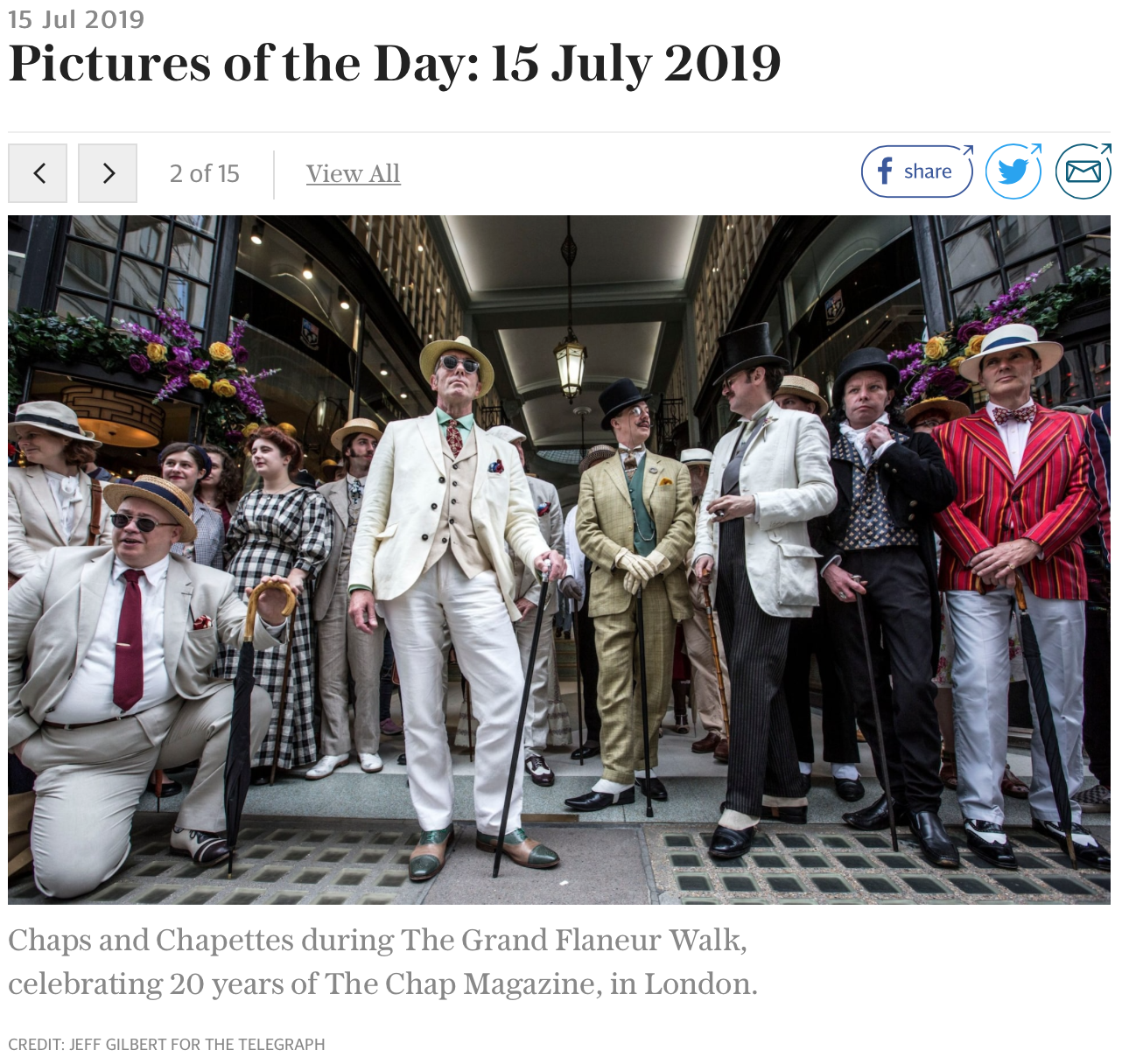 The Telegraph  included an excellent shot of these gentlemen in their 'Pictures of the Day' article