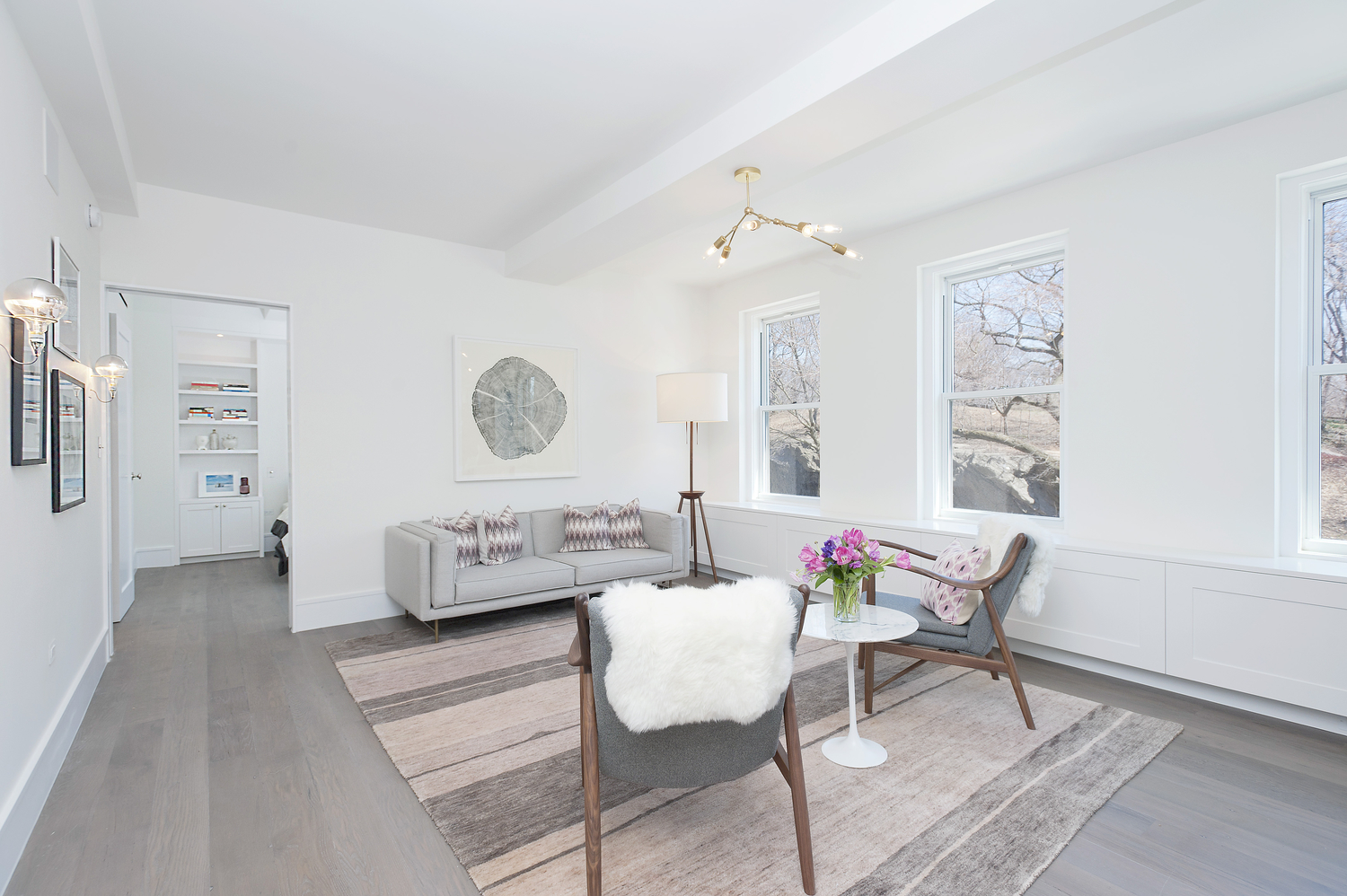 Private residence  featuring Reclaimed White Oak [New Face] Flooring, Central Park West, NYC.