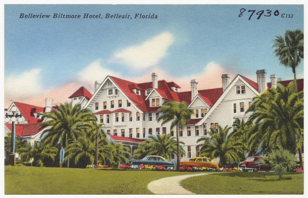 An undated postcard of The Belleview-Biltmore Resort and Spa. The Hotel's original, iconic red roof was later replaced with green roofing.