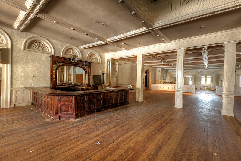 Abandoned hotel lobby,