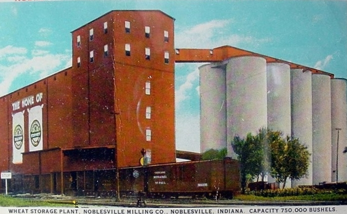 Vintage Image of the Noblesville Milling Co. grain storage facility (date unknown).
