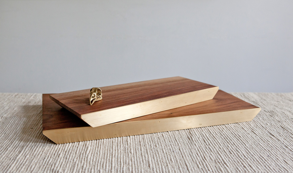 Serving trays, black walnut and brass.